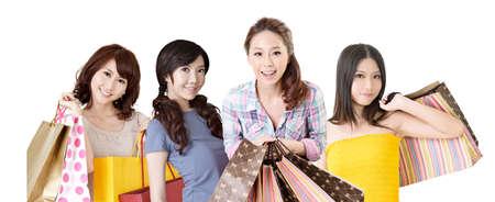 asian shopper: Happy smiling Asian shopping women on white background. Stock Photo