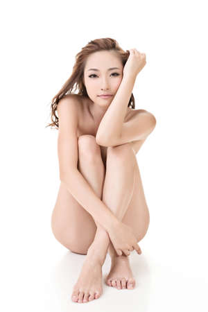 korean fashion: Sexy woman of Asian sit on ground, full length portrait isolated on white Stock Photo