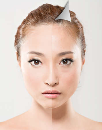 Face of beautiful Asian woman before and after retouch, concept of makeup or plastic surgery.