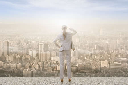looks: Concept of success with businesswoman standing on the roof and looking ahead for the opportunities. Rear view.