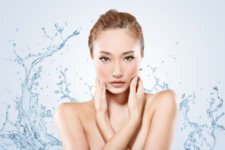 Asian beauty face with water, closeup portrait with clean and fresh elegant lady. photo