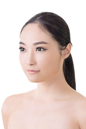 Asian beauty face closeup portrait with clean and fresh elegant lady