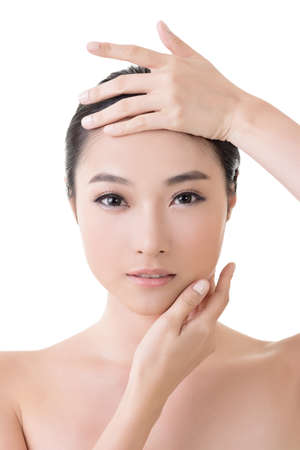Asian beauty face closeup portrait with clean and fresh elegant lady photo