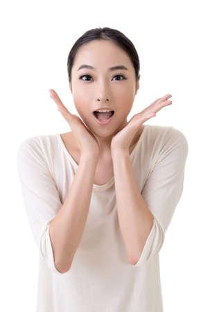 expresiones faciales: Mujer asiática con cara de sorpresa, retrato de detalle sobre fondo blanco.