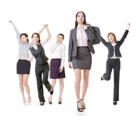 Confident business woman lead her excited team, full length portrait of group people isolated on white background. photo