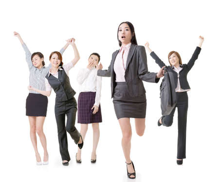 Running business woman lead her excited team, full length portrait of group people isolated on white background. photo