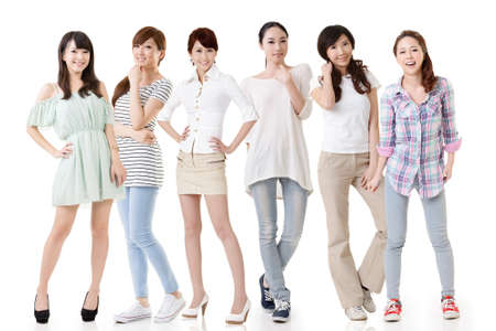 cheer full: Young asian beautiful women posing for the camera. Full length portrait. Isolated on the white background.