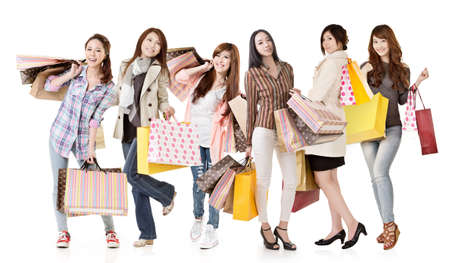 korean fashion: Group of Asian shopping women isolated on white background.