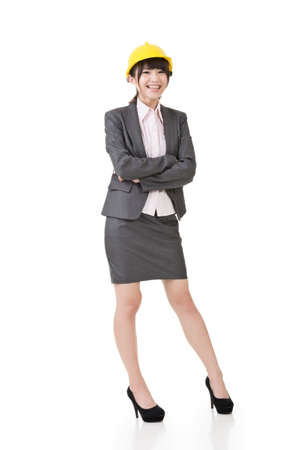 asian architect: Engineer, entrepreneur or architect asian business woman. Full length portrait. Isolated on the white background.