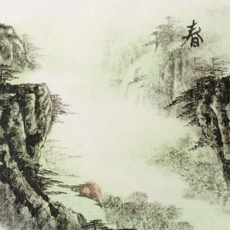 Chinese traditional ink painting landscape of spring season Stock Photo