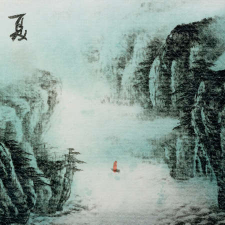 Chinese traditional ink painting landscape of summer season Stock Photo