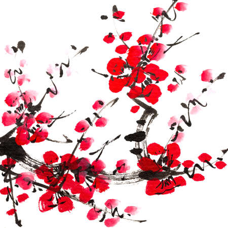 白い背景の上に梅の花咲くの中国絵画