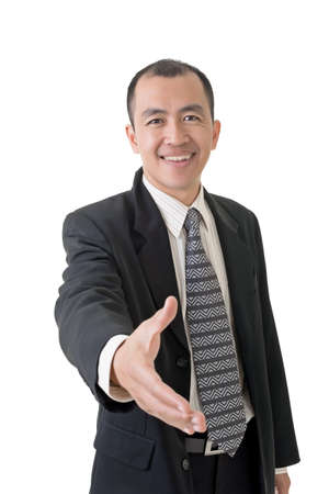 Confident businessman offer shake hand, closeup portrait on white background. photo