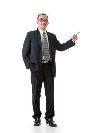 Mature businessman introduce something, full length portrait isolated on white background. photo