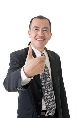 Mature businessman give a gesture of excellent, closeup portrait on white background.