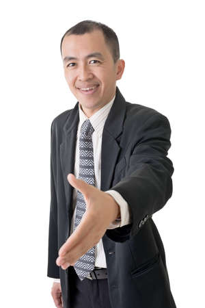 Confident businessman offer shake hand, closeup portrait on white background. photo