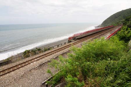 train tracks: Taitung coastline with railway, Taiwan, Asia