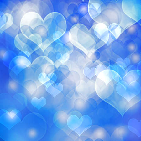 Abstract heart shaped bokeh background.