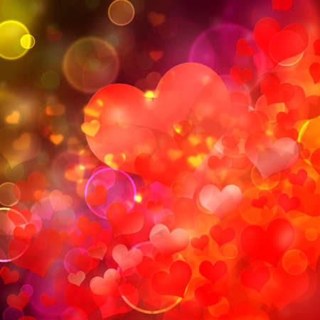 Abstract heart shaped bokeh background. photo