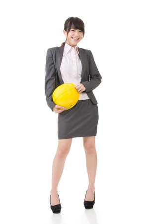 asian architect: Engineer, entrepreneur or architect asian business woman. Studio shot, on the white background.