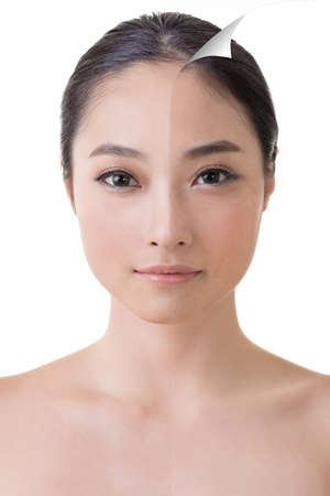 Face of beautiful Asian woman before and after retouch, concept of makeup or plastic surgery. photo
