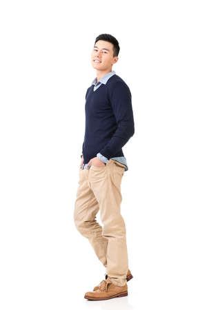 korean man: Handsome young Asian man, full length portrait isolated on white background. Stock Photo