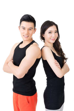 Young Asian sport couple, closeup portrait on white background. photo