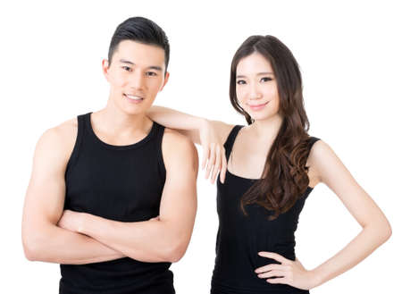 korean man: Young Asian sport couple, closeup portrait on white background.