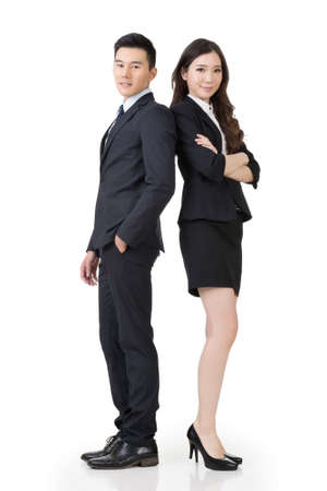 Confident Asian business man and woman, full length portrait isolated on white background.