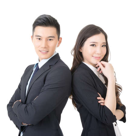 Confident young businessman and businesswoman, closeup portrait on white background. Stock Photo