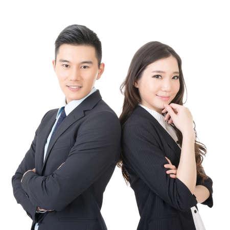 attraktiv: Zuversichtlich junge Geschäftsmann und Geschäftsfrau, Closeup Portrait auf weißem Hintergrund.