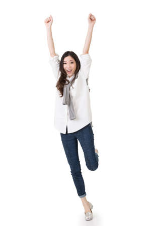 Cheerful Asian woman, full length portrait isolated on white background.