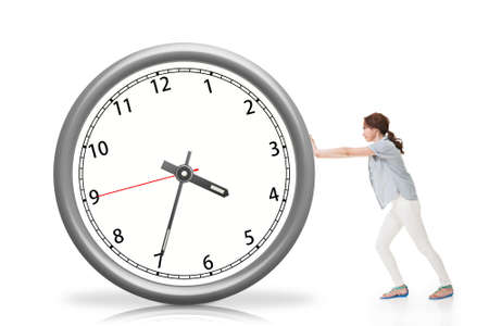 Asian woman push a clock photo