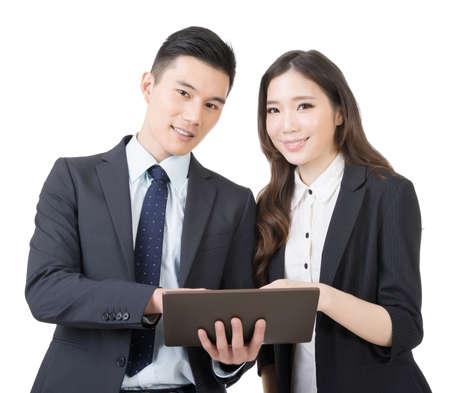 korean man: Business man and woman discuss, closeup portrait isolated on white background. Stock Photo