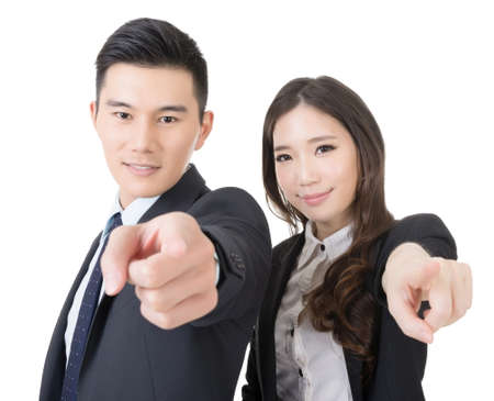 Business man and woman point at you, closeup portrait isolated on white background. photo