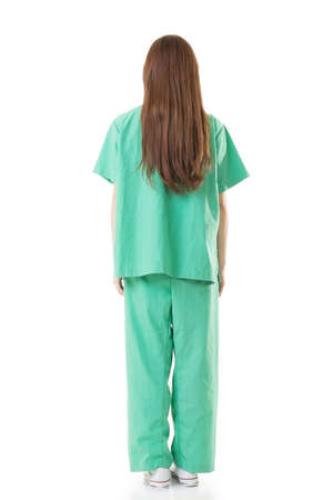 operation gown: Rear view of Asian doctor woman wear a isolation gown or operation gown in green color, full length portrait isolated on white.