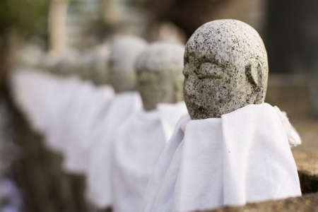 bodhisattva: Japanese stone statue Ksitigarbha Bodhisattva in garden.
