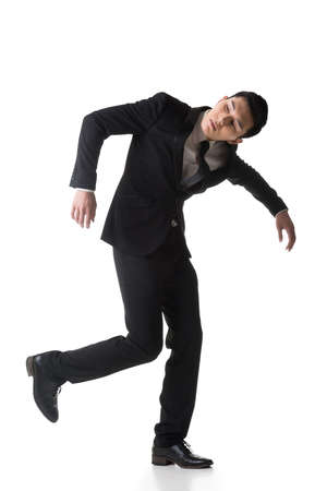 dupe: Marionette pose, asian business man isolated on white.