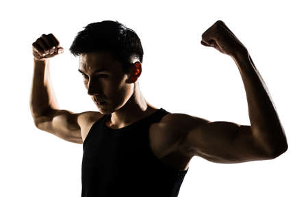 korean man: Asian healthy muscular young man with his arms stretched out isolated on white background.