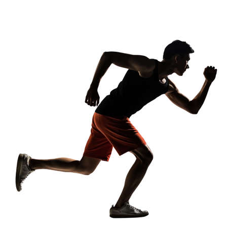 Men exercise: Silhouette of young Asian athlete running, full length portrait isolated on white Kho ảnh