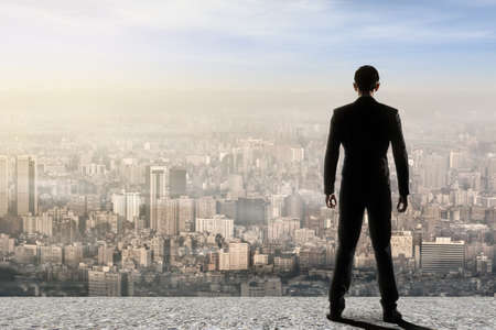 Concept of success with businessman standing on the roof and looking ahead for the opportunities. Rear view. photo