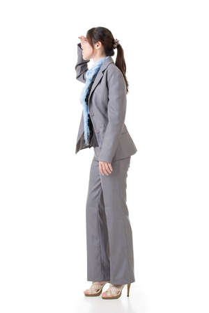 opportunity discovery: Asian business woman looking ahead for the opportunities. Stock Photo