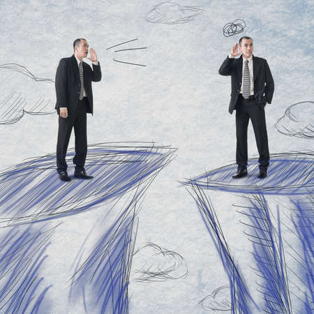 business concern: Business men communication from distance. Stock Photo