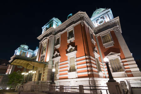 the place is important: Osaka city central public hall in the night, Japan, Asia. Editorial