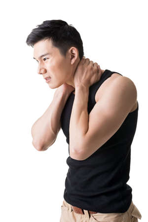 neck pain: Asian young man with neck pain, closeup portrait.