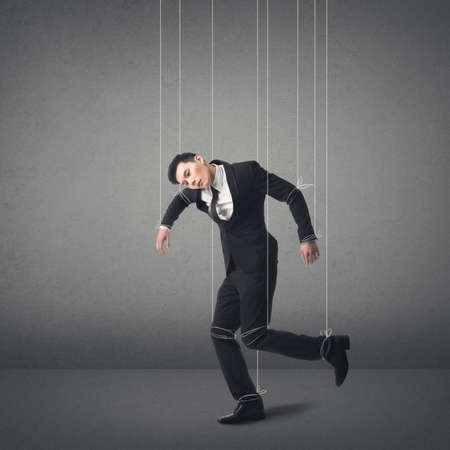 dupe: Marionette concept, asian business man. Stock Photo