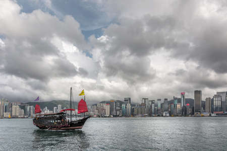 HONG KONG, CHINA - MAY 19   Famous Aqua Luna boat sail on the victoria harbour in Hong Kong,  China on 19th May 2014