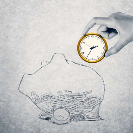 save time: Save your money, concept of time or financial management.
