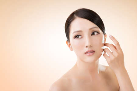 asia nude: Asian beauty face closeup portrait with clean and fresh elegant lady.