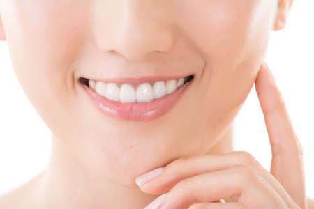 Asian woman smile, closeup image. photo
